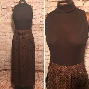 Vintage 1970s Belted Maxi Dress